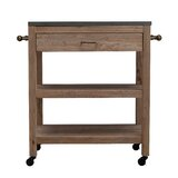 Huneycutt Rolling Kitchen Cart Granite Top Kitchen Island by Gracie Oaks