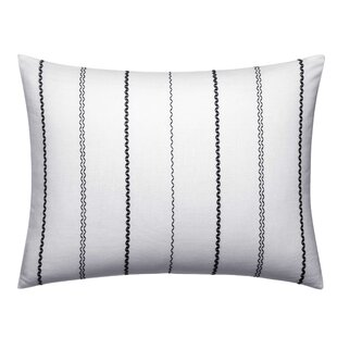 Ink Botanical Chevron Stitching Throw Pillow