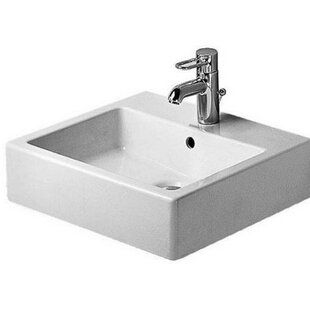Reviews Vero Ceramic 20 Wall Mount Bathroom Sink with Overflow By Duravit