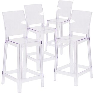 Willa Arlo Interiors Darchelle Counter Bar Stool with Square Back (Set of 4)