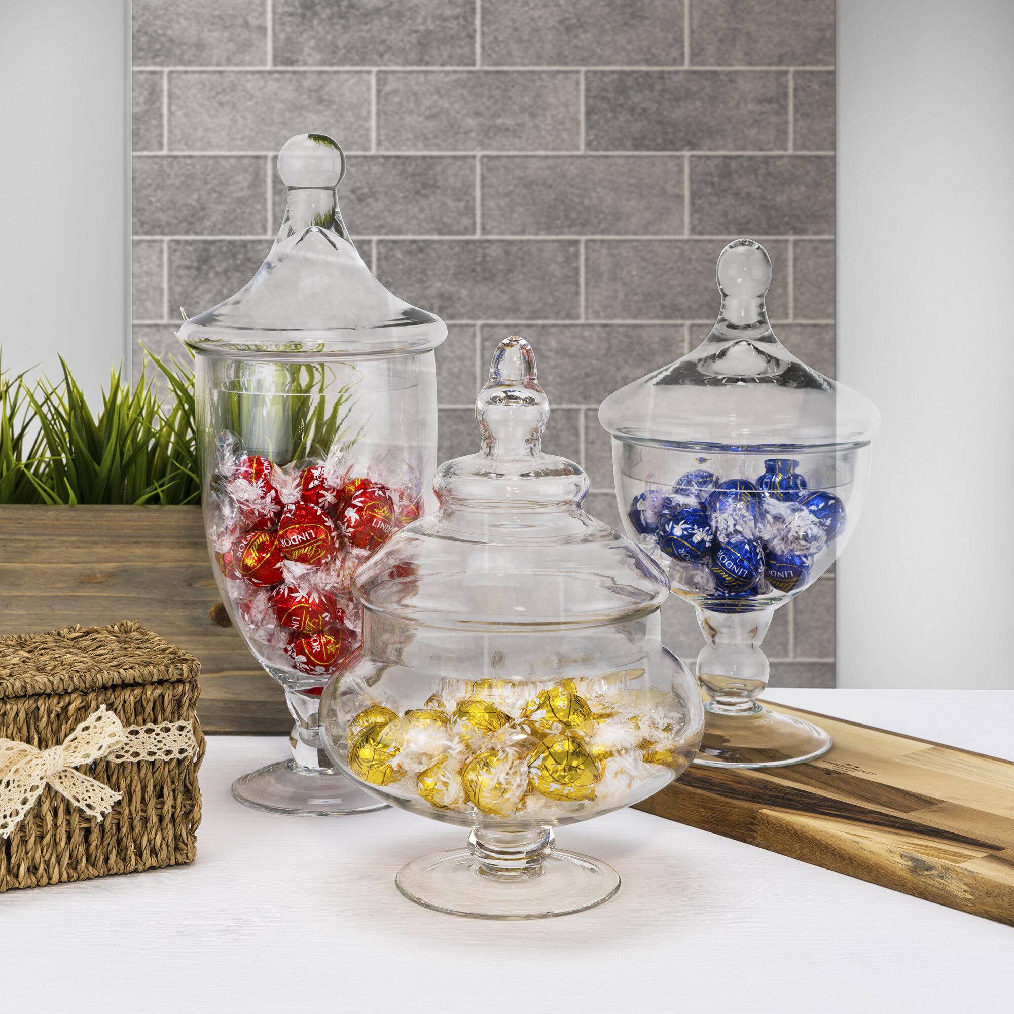 alcott hill 3 piece glass candy buffet apothecary jar set reviews rh wayfair com