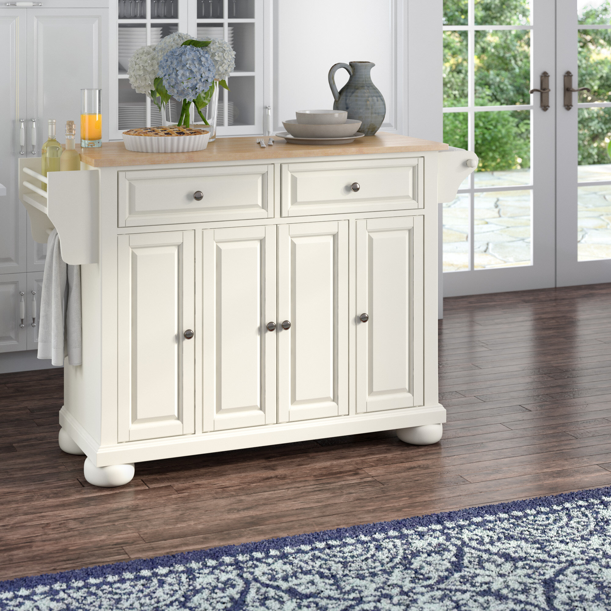 Darby Home Co Pottstown Kitchen Island with Wood Top & Reviews   Wayfair