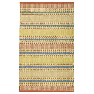 Farnborough Handwoven Cotton Yellow Blue Rug