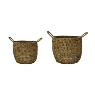 Finadeni 2 Piece Natural Fibres Cachepot Set (Set Of 2) By Bay Isle Home
