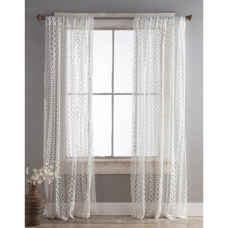 August Grove Millikan Diamond Lace Floral Semi Sheer Rod Pocket Curtain Panels Wayfair