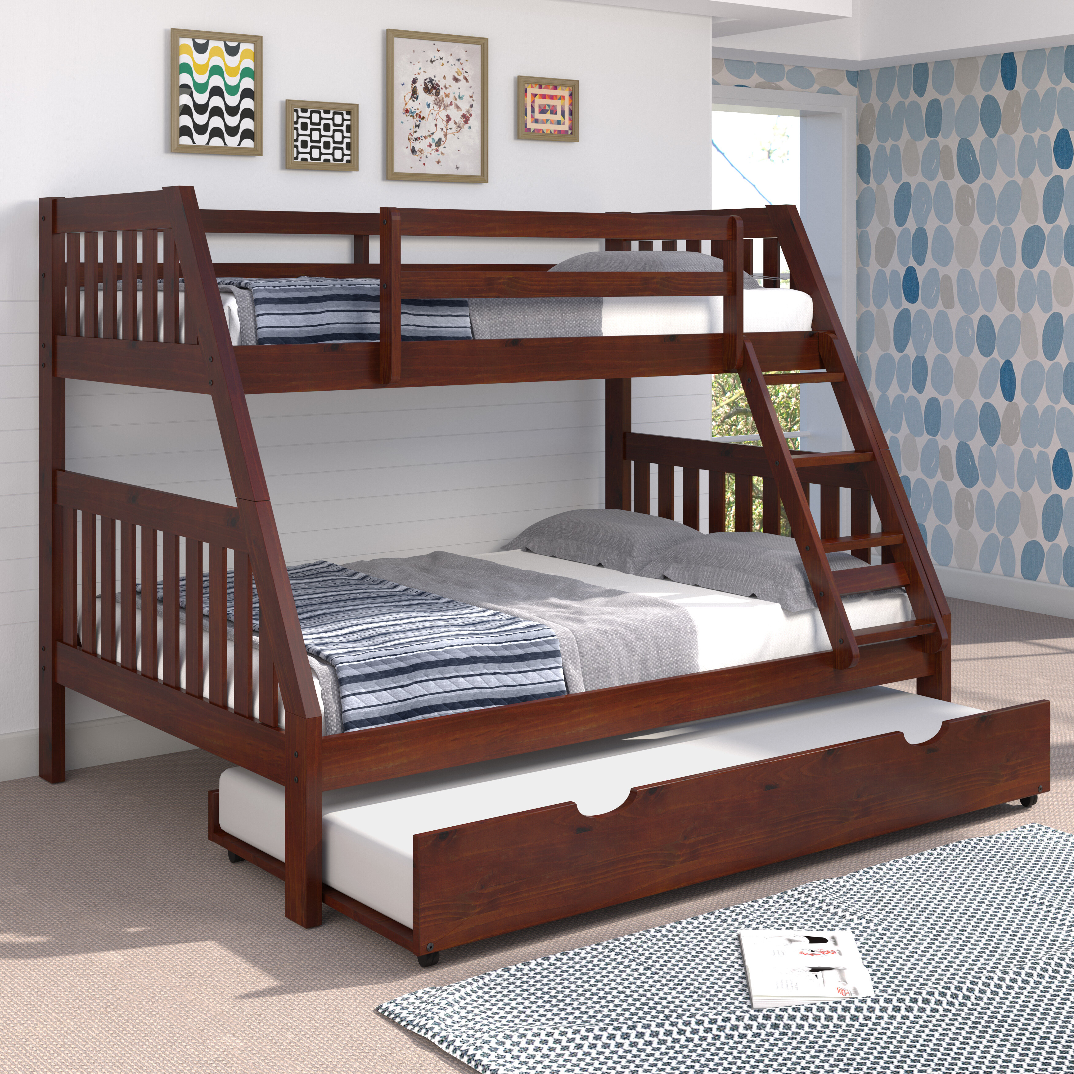 Chelsea Home Mission Twin Over Full Bunk Bed With Trundle And Ladder Reviews Wayfair
