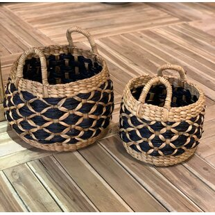 Hand Weave Rattan 2 Piece Basket Set By World Menagerie