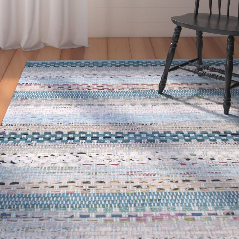 August Grove Vesey Hand-Knotted Cotton Aqua/White/Gray Area Rug, Size: Rectangle 8 x 10