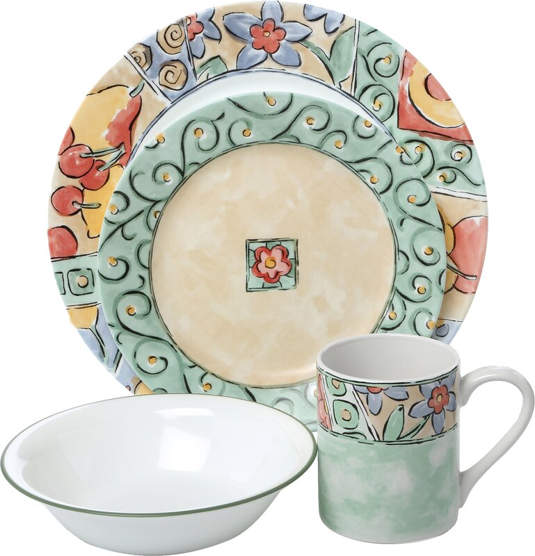 Impressions Watercolors 16 Piece Dinnerware Set Service for 4  sc 1 st  Wayfair & Corelle Impressions Watercolors 16 Piece Dinnerware Set Service for ...