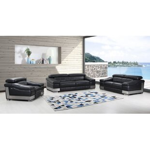 Hawkesbury 3 Piece Leather Living Room Set by Orren Ellis