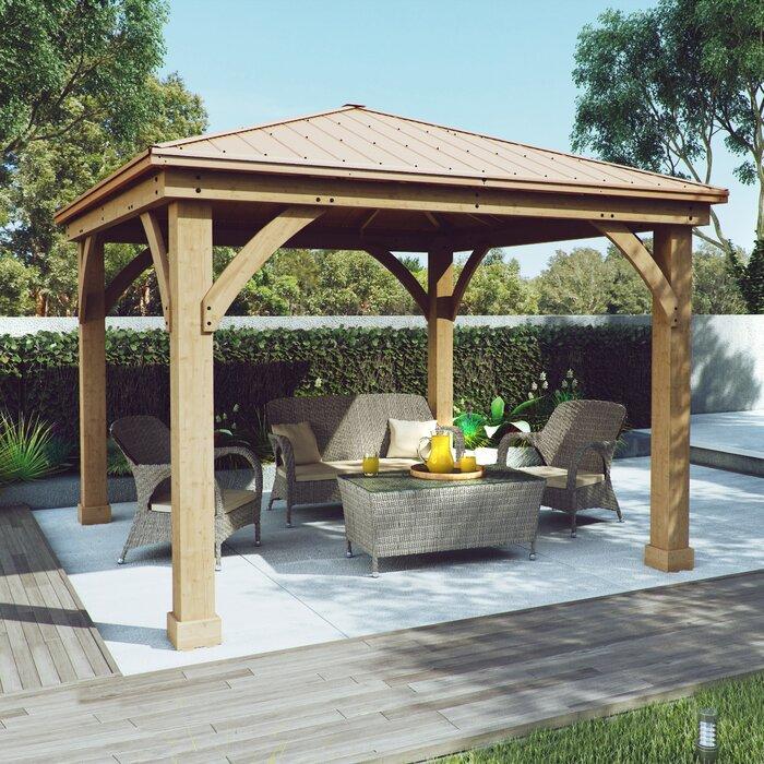 Pavillon de jardin en bois massif pour terrasse de l 12 pi x P 12 pi