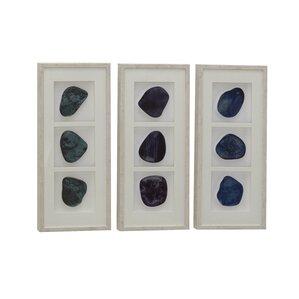 modern gemstones rectangular framed polystone and wood wall dcor set of 3