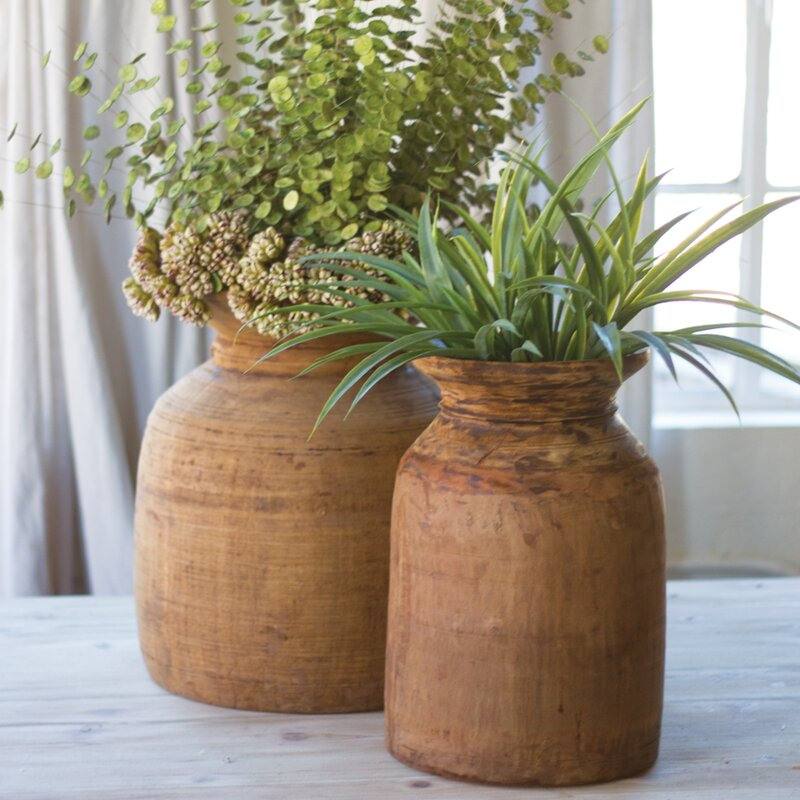 McClelland 2 Piece Mango Wood Urn Planter Set