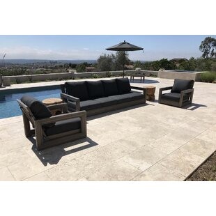 Yandell 3 Piece Teak Sofa Seating Group with Sunbrella Cushions