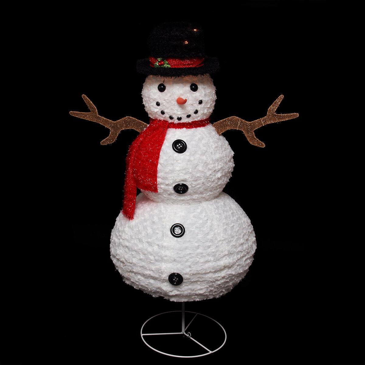 Northlight Pre Lit Outdoor Chenille Swirl Snowman Christmas Decoration Lawn Art Fugurine Wayfair