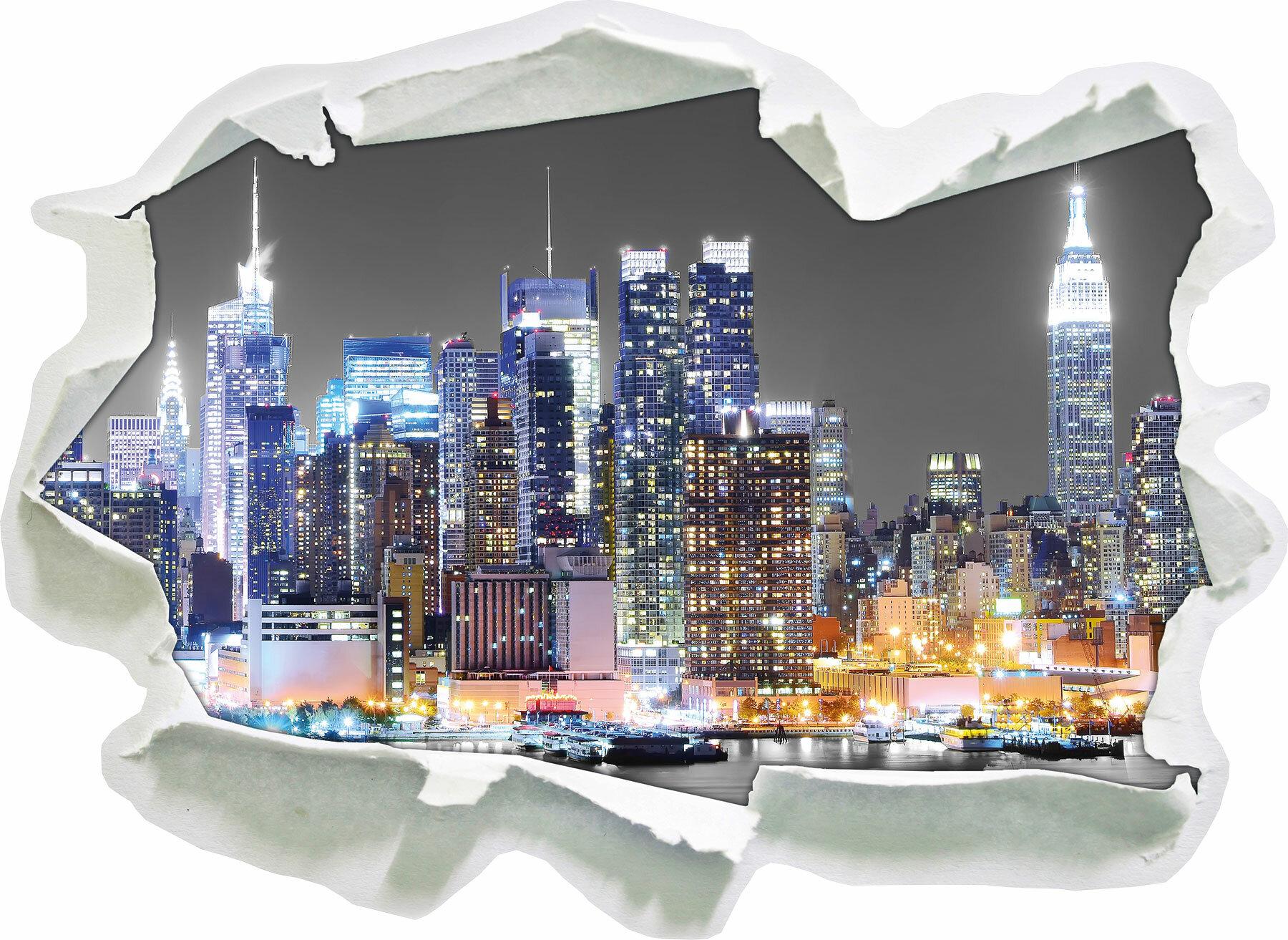 East Urban Home New York Skyline At Night Wall Sticker Wayfair Co Uk
