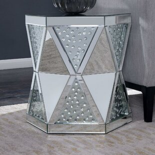 Moraga Hexagonal Glass Top End Table by Rosdorf Park