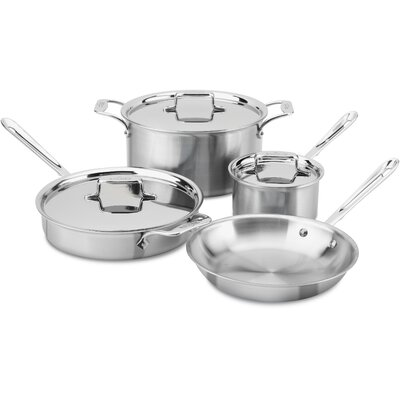 D5 Brushed Stainless Steel 7 Piece Cookware Set All-Clad