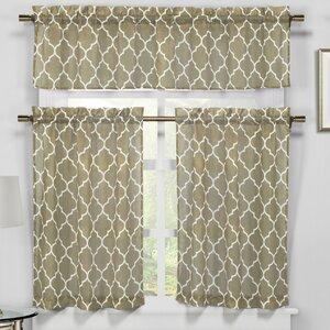 Baham 3 Piece Faux Linen Kitchen Curtain Set