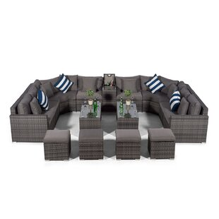 Villasenor Grey Rattan U Shape 8 Seat Sofa With 2 X 2 Stool Coffee Table & Drinks Cooler, Outdoor Patio Garden Furniture By Sol 72 Outdoor