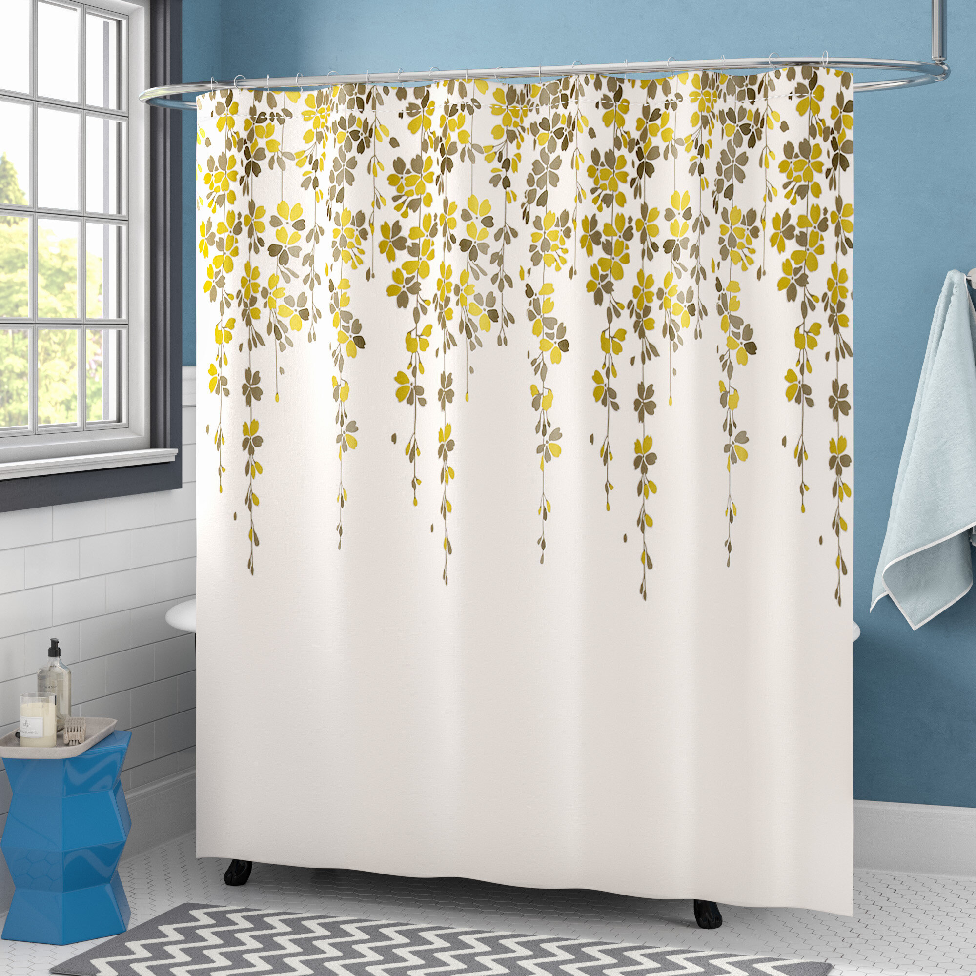 Custom Curtains Valance Roman Shade Shower Curtains in Ivory Leaf Scroll Pattern Fabric