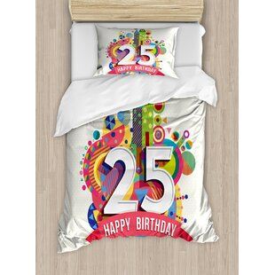 25th Birthday Decorations Duvet Cover Set