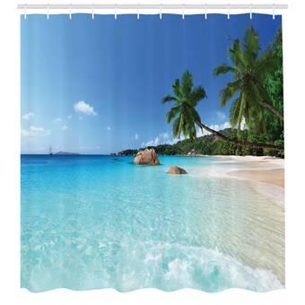 Tropical Beach Tissu rideau de douche,