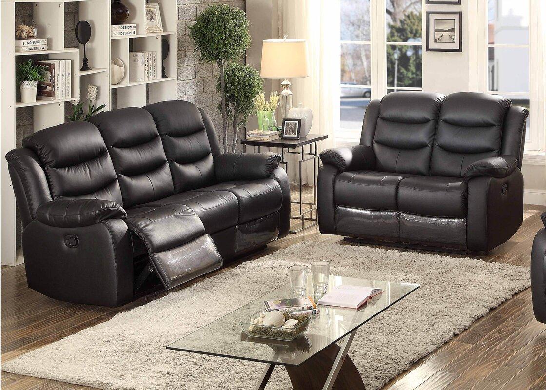 AC Pacific Bennett 2 Piece Leather Living Room Set & Reviews | Wayfair