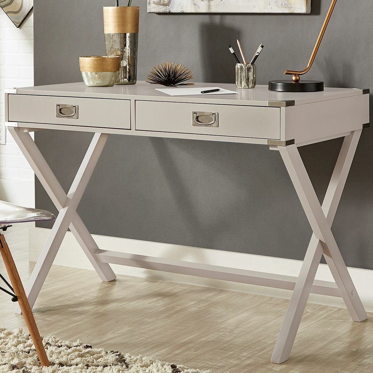 computer large ribbon style small blue desk industrial white writing drawers distressed with gold black top