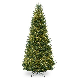 Slim 12 Green Fir Trees Artificial Christmas Tree With Clear White Lights