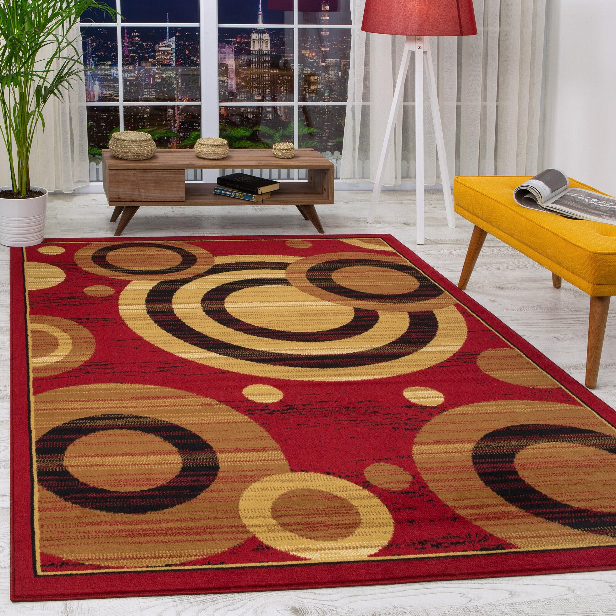 Ebern Designs Buchenfeld Geometric Maroon Beige Area Rug Reviews Wayfair