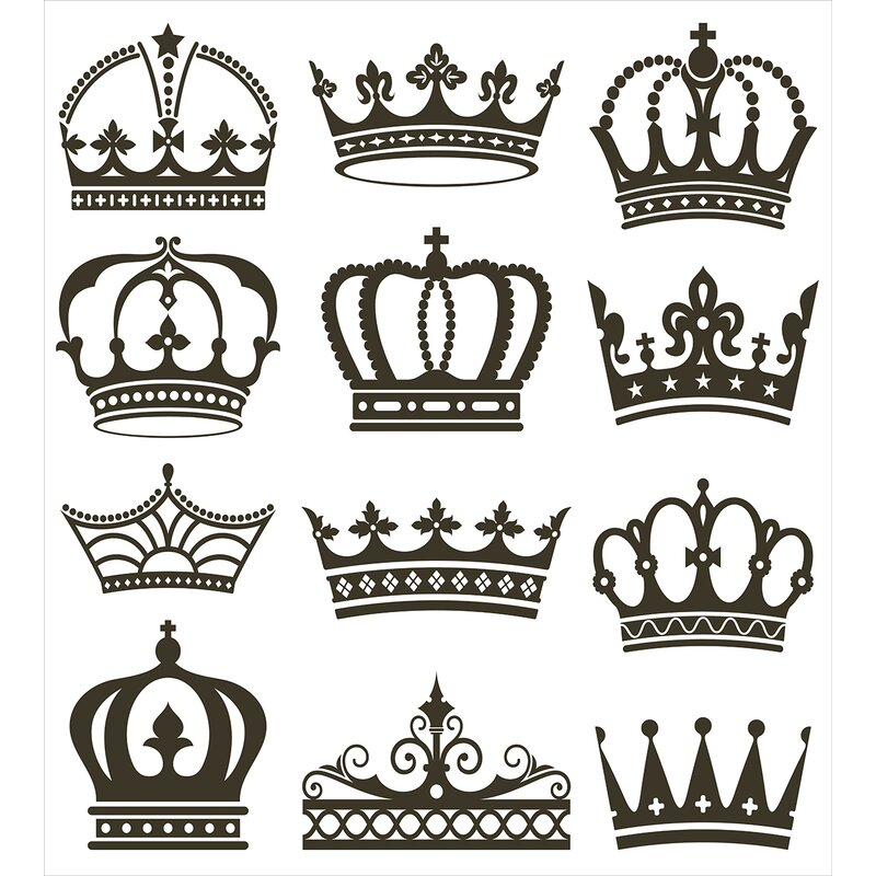 Ambesonne Symbol Of Royalty Jewel Crowns Tiaras For Reign Queen