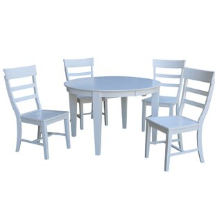 48 x 48 Round Extending 5 Piece Dining Table with 4 Ladder Back Chairs
