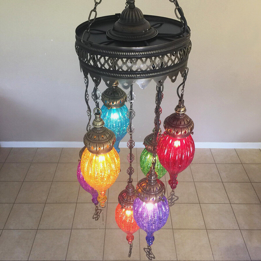 Woodymood hanging ceiling mosaic lamps handmade turkish moroccan brassglass 7 ball multi colour