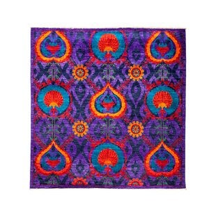 One-of-a-Kind Suzani Hand-Knotted Purple/Black/Red Area Rug By Darya Rugs