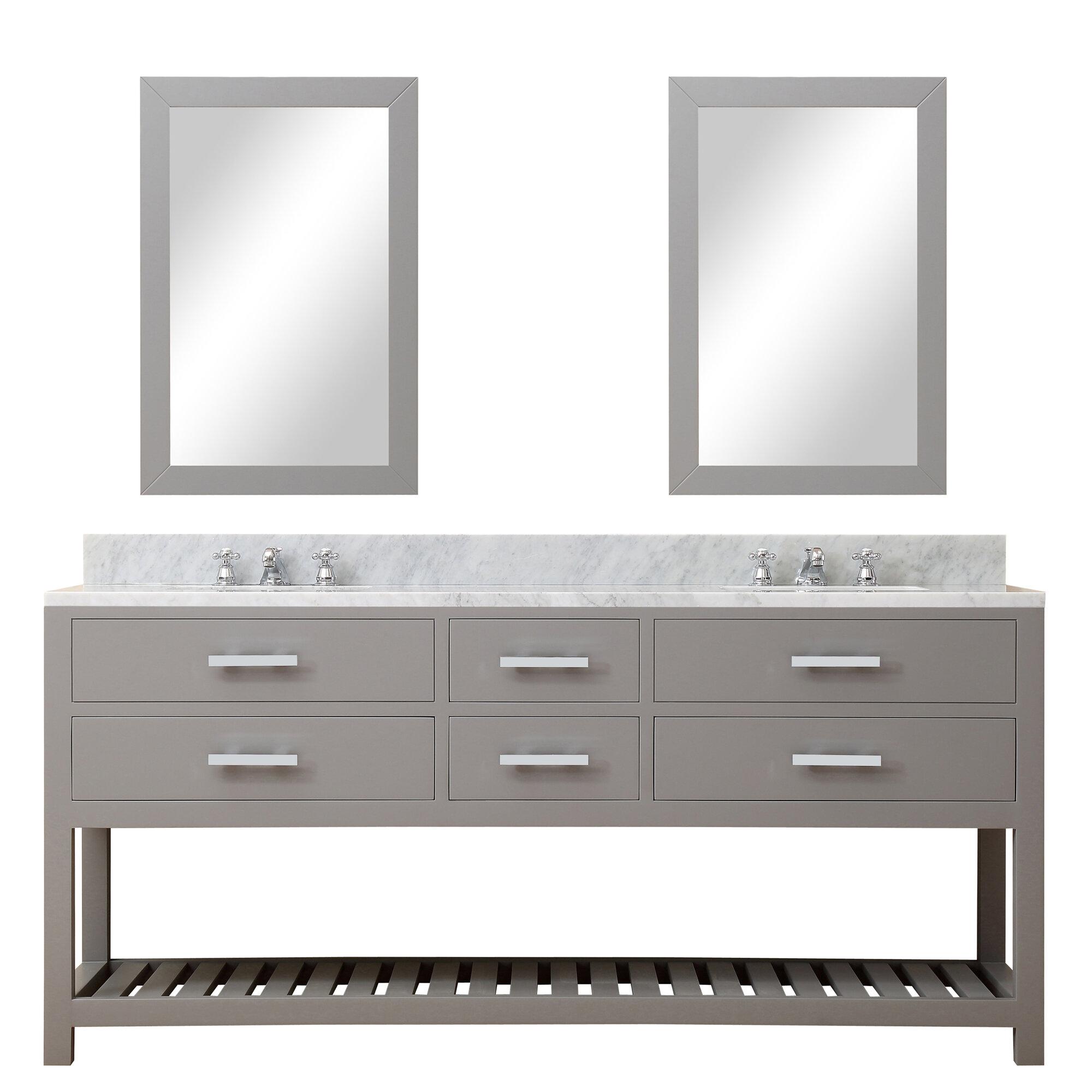 Perego 60 Double Sink Bathroom Vanity Set With Mirror Reviews Allmodern