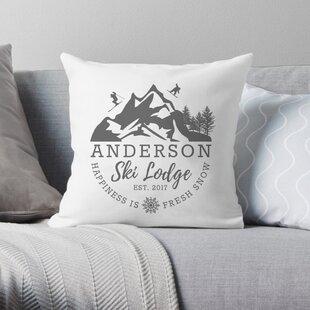 Personalized Ski Lodge Throw Pillow
