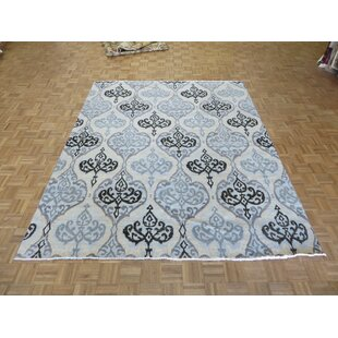 Top Reviews One-of-a-Kind Josephson Ikat Peshawar Hand-Knotted Wool Aqua Blue Area Rug ByCanora Grey