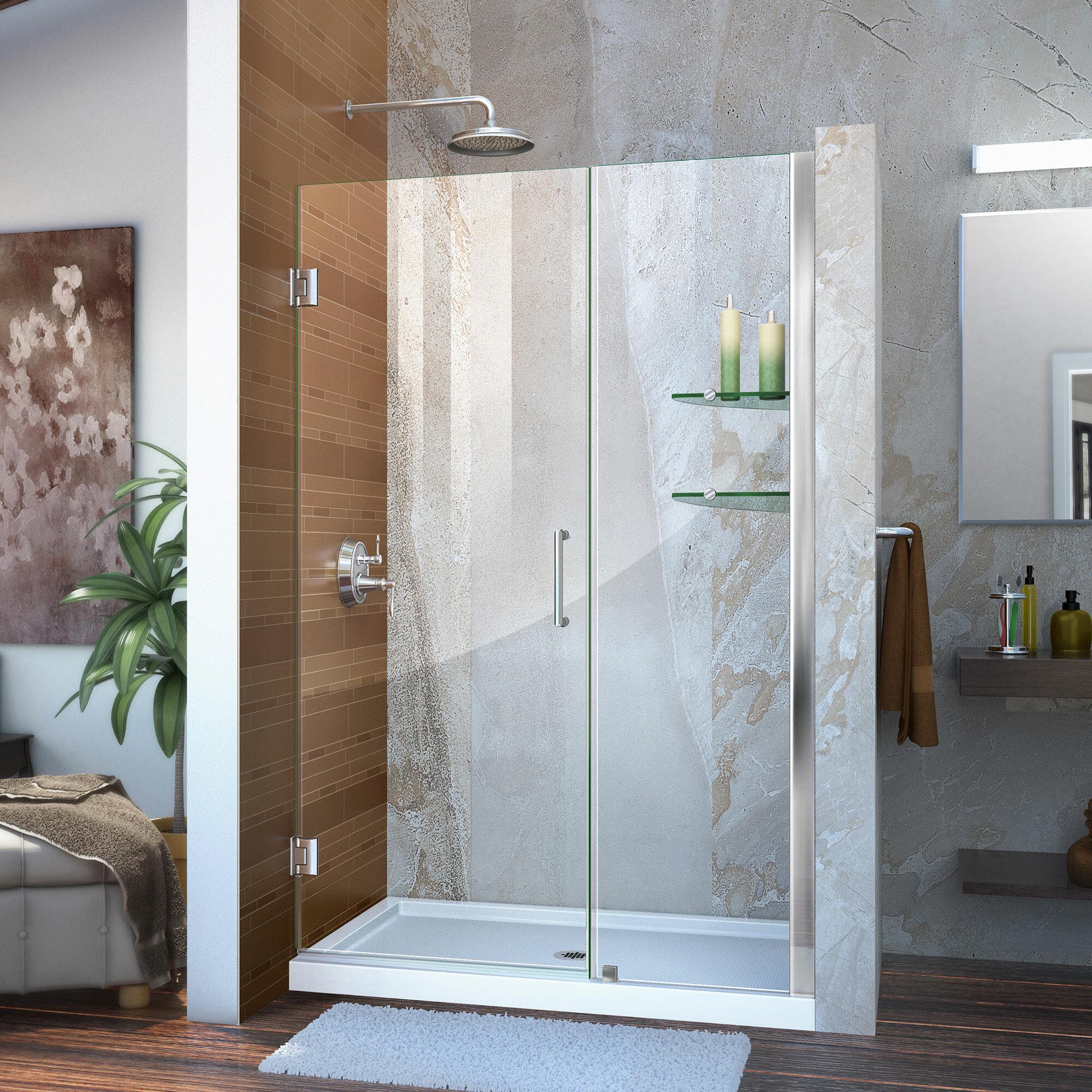 Unidoor 46 X 72 Hinged Frameless Shower Door With Clearmax Technology