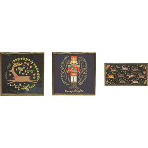 Holiday Nutcracker and Reindeer by Irene Chen 3 Piece Framed Painting Print on Canvas Set (Set of 3)