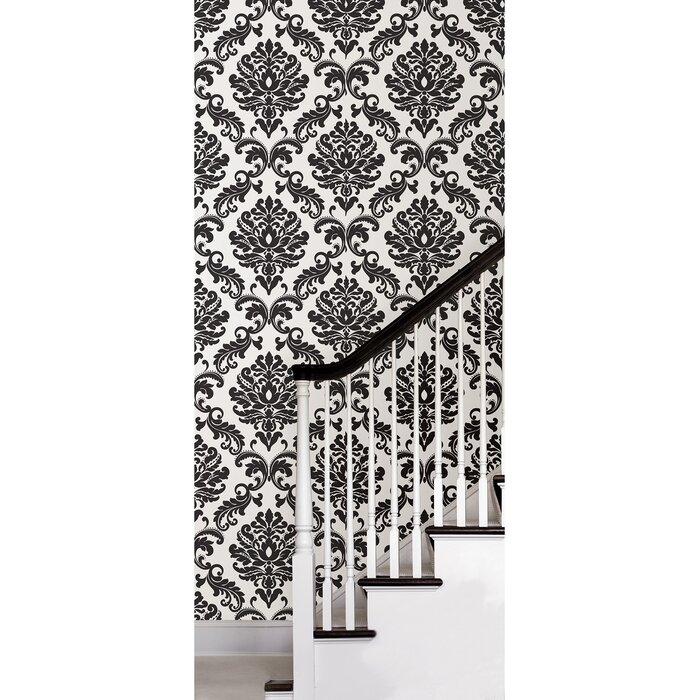 18 L X 20 5 W Damask Peel And Stick Wallpaper Roll