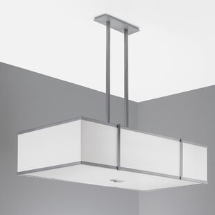 Hatbox Rectangle Pendant with Double Stem by ILEX Lighting