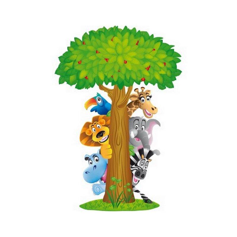East Urban Home Wandaufkleber Tiere Zoo Lowe Giraffe Elefant Baum Dschungel Dschungeltiere Wayfair De