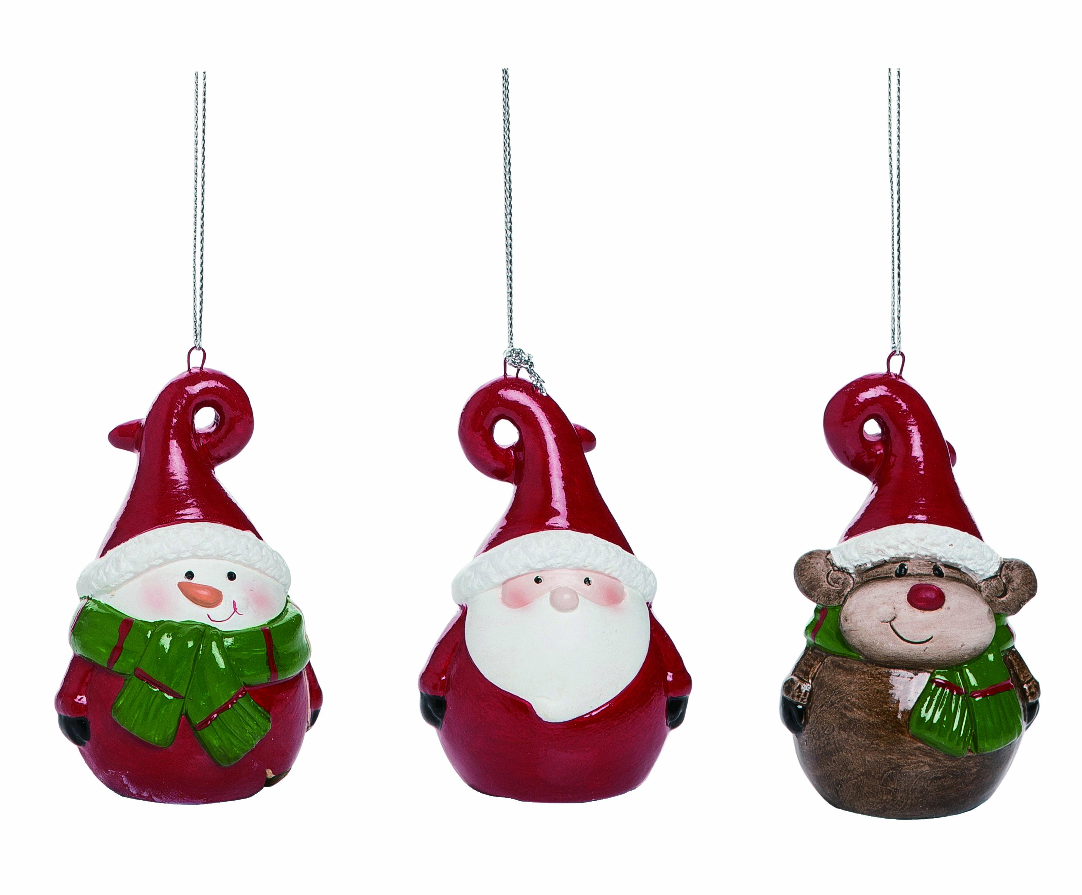 The Holiday Aisle 3 Piece Terracotta Santa Snowman And Reindeer Hanging Figurine Ornament Set Wayfair