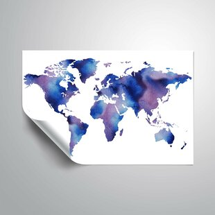 World Map Removable Wall Sticker.Large World Map Wall Decal Wayfair