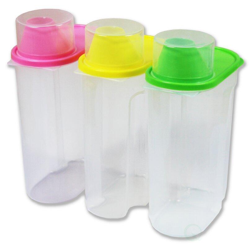 Large Plastic Kitchen Saver 3 Container Food Storage Set