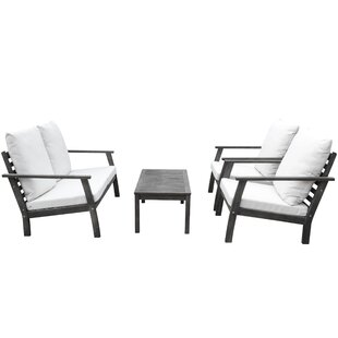 Densmore Outdoor Patio Hand Scraped Wood Sofa Set With Cushions