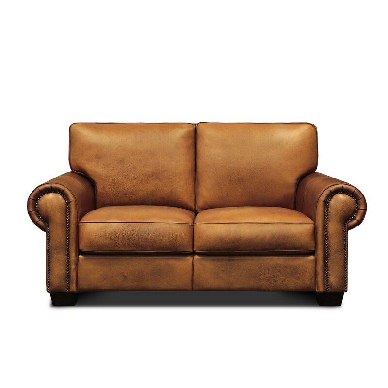 Hello Sofa Home Valencia Genuine Leather 68 Square Arm Loveseat Wayfair