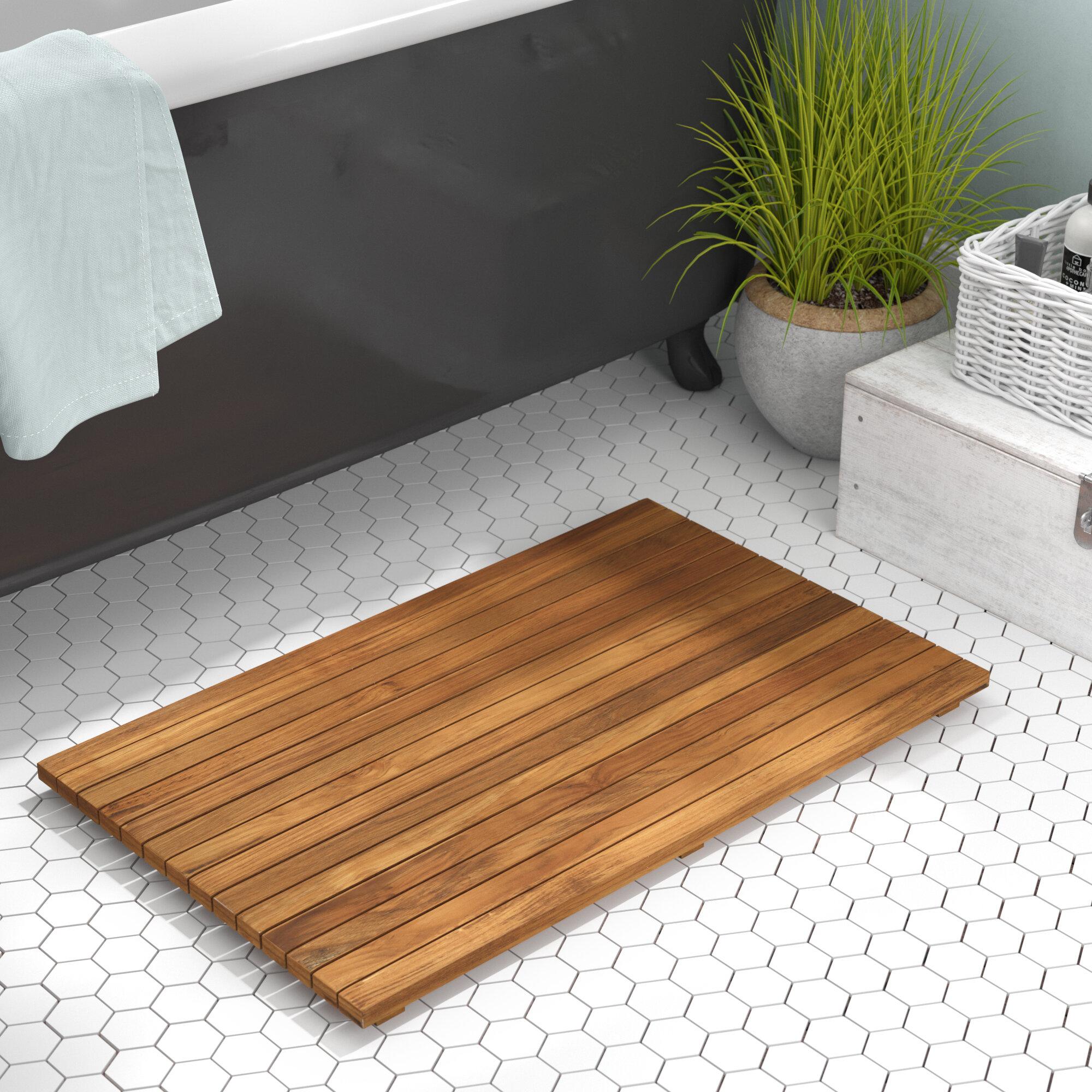 Beachcrest Home Felton Rectangle Teak Wood Non Slip Bath Rug Reviews Wayfair