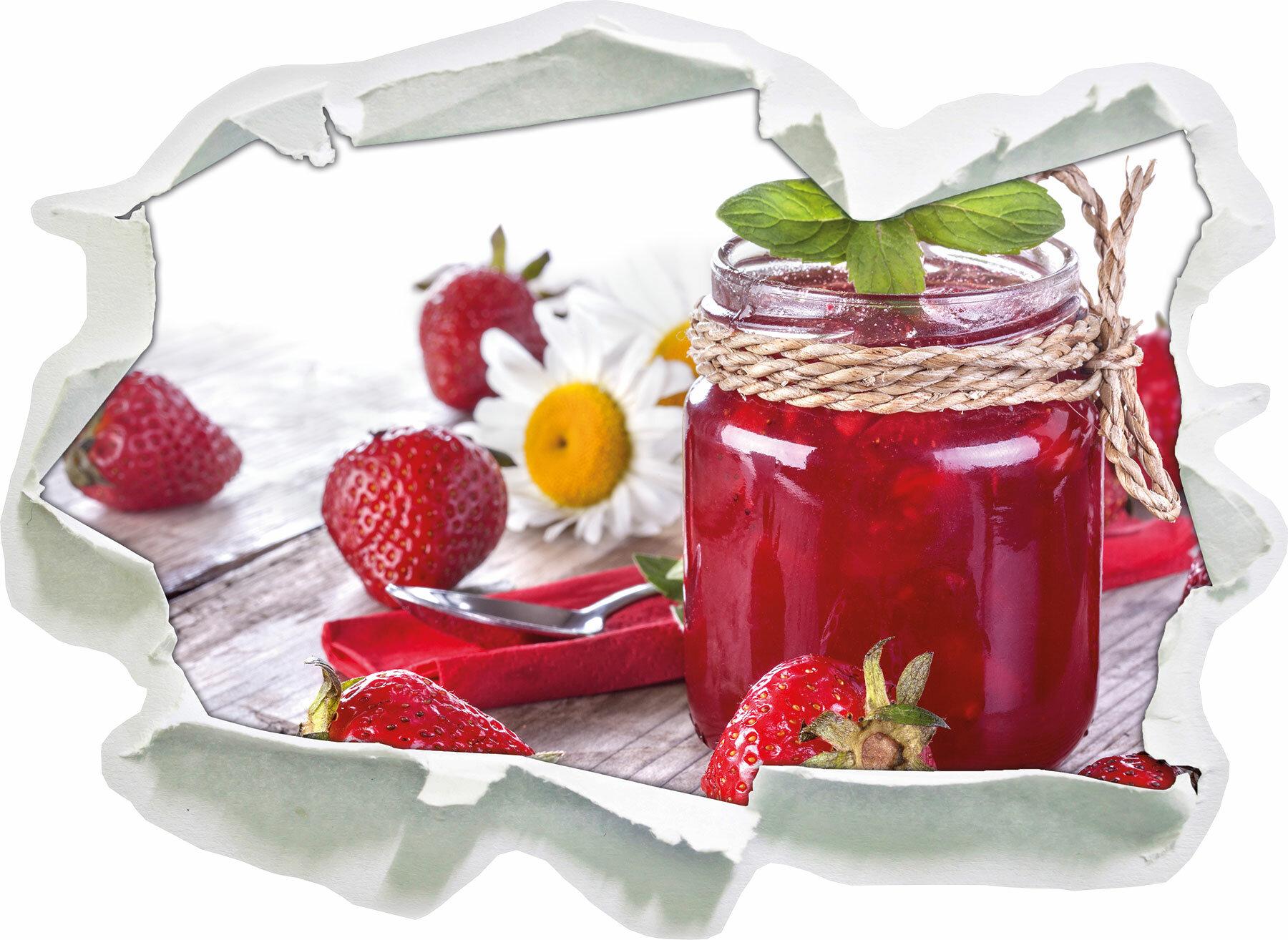 East Urban Home Wandtattoo Glas Mit Erdbeeren In Wiese Voller Klee